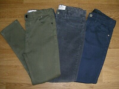 FAT FACE H&M PRIMARK Boys 3 Pairs Blue Grey Green Skinny Jeans Age 11 146cm