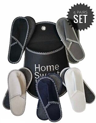 5 PAIR CHRISTMAS Home FAMILY Guest ASSORTED SIZE Slipper Set W Holder DEER