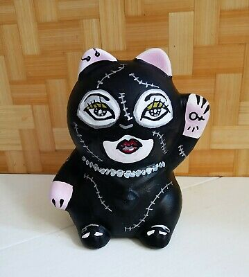 Money bank Lucky Cat cat woman hand painted