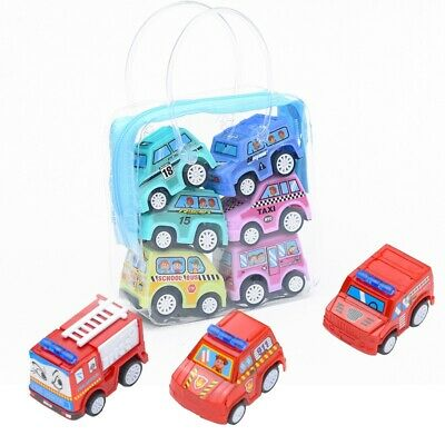 6 Pack For Toddlers Boy Models Car Fireman Truck Cars Toy Pull Back Vehicle Set