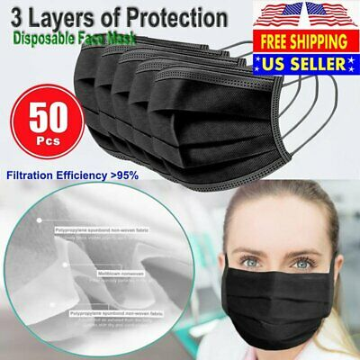 BLACK 50 PCS Face Mask Non Medical Surgical Disposable 3-Ply Earloop Mouth Cover