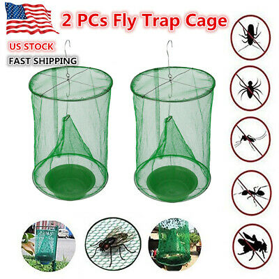 2x Reusable Fly Insect Trap Cage Ranch Farm Pest Fly Catcher Killer Net Folding