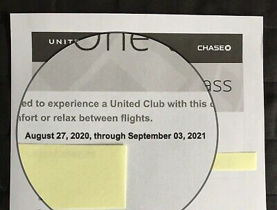 United Airlines Club Lounge One-Time Pass Expires September 2021,FREE SHIP/email