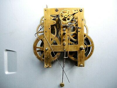Antique American wall clock  Brass movement for PARTS like WATERBURY ANSONIA