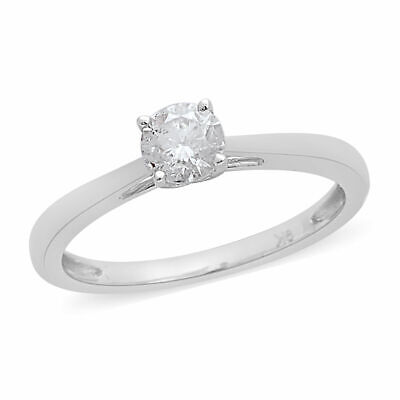 9ct White Gold Natural White Diamond Solitaire Wedding Ring for Women SIZE T TJC