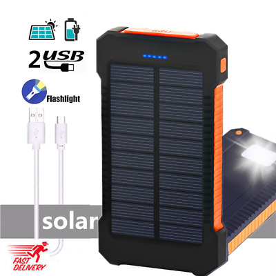 2 USB 500000mAh Waterproof Solar Power Bank LED Battery Charger For Cell Phone