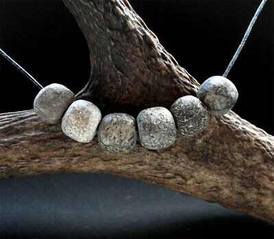 6 GENUINE ANCIENT WOOLY MAMMOTH FOSSIL BEADS  - wearable