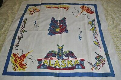 1940's Souvenir Tablecloth ALASKA Sled Dog Theme