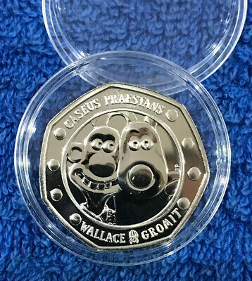 2019 Uk 50p WALLACE and GROMIT Fifty Pence Coin 30TH ANNIVERSARY BU In Capsule
