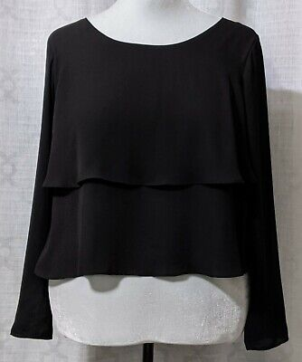 Black Back Slit Two Layer Blouse / Size Large/ by Lovemarks