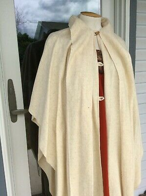 Vintage Wool Wrap Cape with Shawl Peasant Bohemian