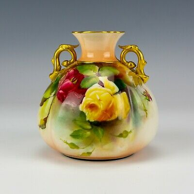 Royal Worcester Porcelain - Hand Painted Roses Vase With Gilded Handles