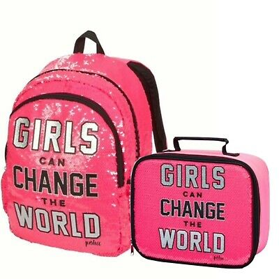 Justice Lunch Box Tote & Backpack Set Girls Change The World Nwt New Fast Ship