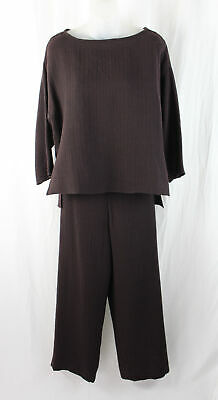 Yeohlee Women's Brown Wool Blend Two Piece Top Pants Outfit Set Size M / L
