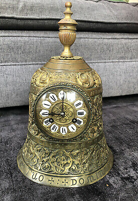 Large Antique Brass Bell Shaped Mantle Clock French C. 1890 FOR RESTORATION