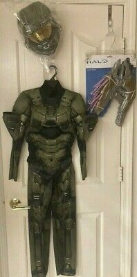 Halo Master Chief S M 4 6 8 Halloween Costume Outfit Set 3D Muscle Chest Needler