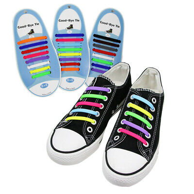 16Pcs Easy No Tie Shoelaces Elastic Silicone Flat Lazy Shoe Lace Strings Adults