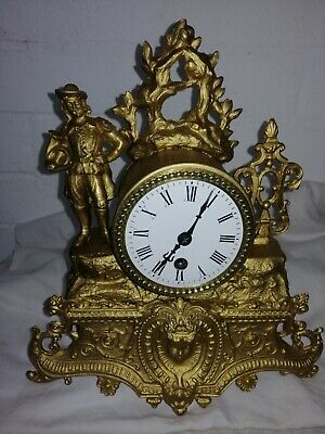 Antique French Mantle Clock in Very Nice Ornate Case, Japy Freres Movement.