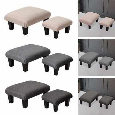 Padded Sofa Side Pouffe Footstool Foot Rest Stool Kids Seat Chair Wooden Legs