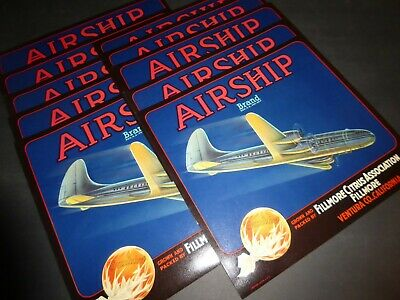 AVIATION 1940/'s WWII BOMBER AIRSHIP VINTAGE ORANGE CRATE LABEL FILLMORE CA