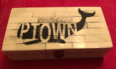 Antique Style Whale PTOWN Scrimshaw Etched Bone & Wood Trinket Stamp Jewelry Box