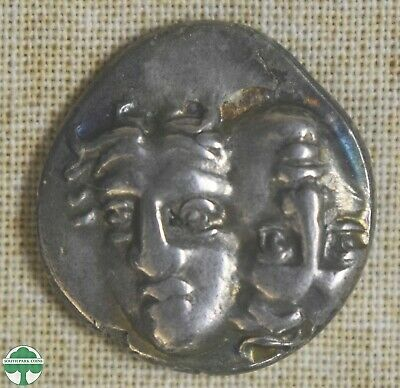 Sinope 410Bc Ancient Greece Silver Coin Nymph Head, Dolphin Eagle Reverse- Ch Xf