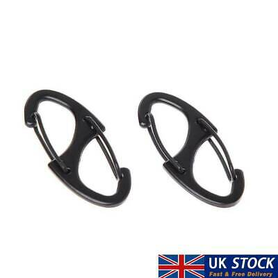 2X BLACK//Silver S-Shaped Binders Small CARABINER CLIP Key Ring 41mm Long Load UK