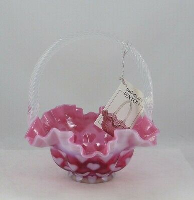 Fenton Cranberry Opalescent Heart Optic