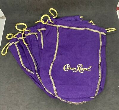 Lot of 6 Crown Royal 1.75L Large Purple /& Gold Drawstring Bags 12 inch