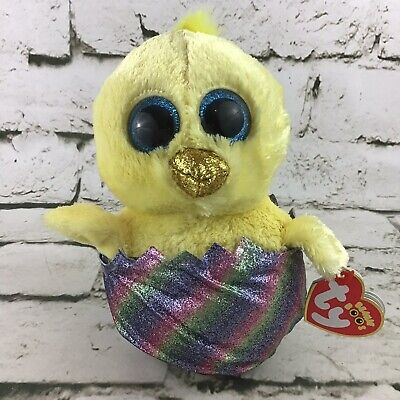 """Yellow Chick in Rainbow Easter Egg 6"""" TY Meg Small Beanie Boo Plush"""