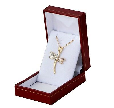 Box Pendant Luxury Dragonfly And Bright with Chain Gold Plate Real New