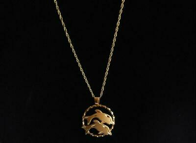Vtg PPC Princess Pride Creations 14K GF Gold Filled Dolphins Pendant Necklace