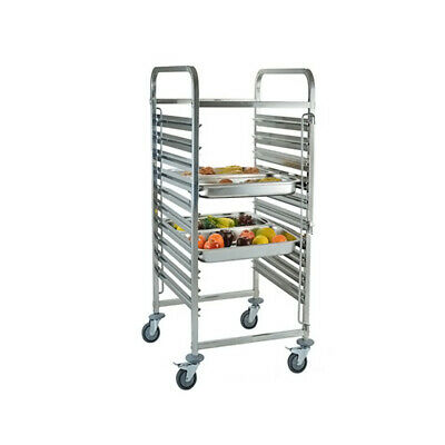 6//10//15Slot Stainless Steel Racking Trolley Levels Catering Tray Rack Slot Shelf