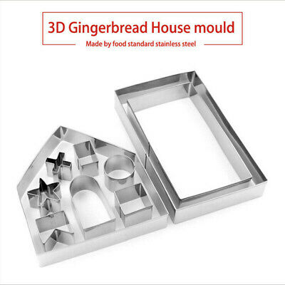 10Pc 3D Gingerbread House Cookie Kit Christmas Biscuit Mold Cooking Tool S3X