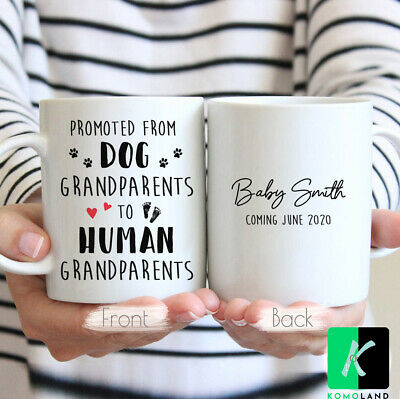 Personalized Promoted From Dog Grandparents Pregnancy Announcement Coffee Mug