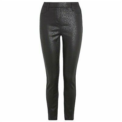 Next Black Animal Print Coated Faux Leather Look Skinny Jeans size UK 6 jeggings