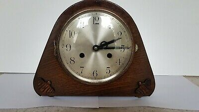 Baduf Art Deco Style Wooden Mantel Clock, Working for Spares or Repairs