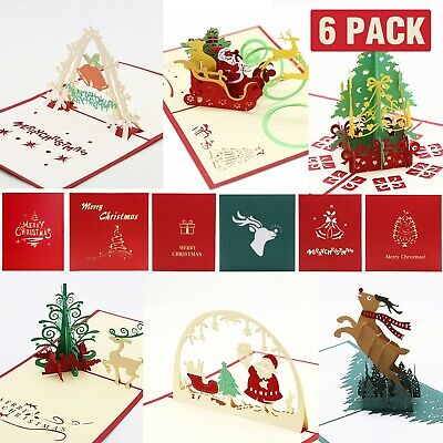 3D Up Card Merry Christmas Tree Holiday Greeting Creative New Hot Cards G9U4