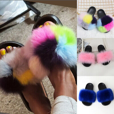 Ladies Fox fur Slippers Sandals Women Fluffy Slip On Flat Mules Shoes Size 4-9