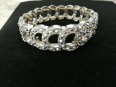 Silver Plated Diamante Diamonte Shiny sprung Cuff Bracelet sparkly crystal bling