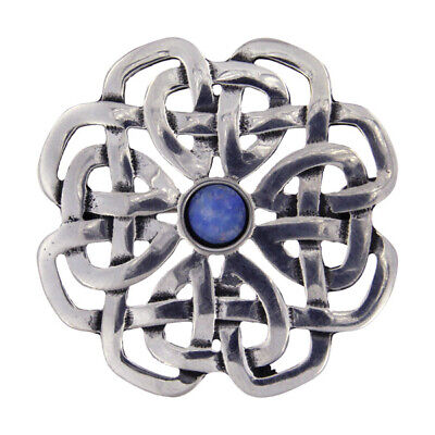 St Justin  Pewter Brooch   A  Celtic Rose With Turquoise Stone