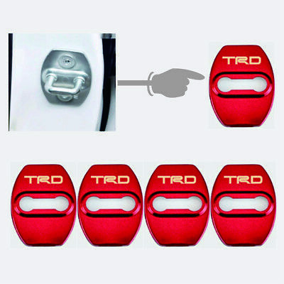 4x JDM TRD Red Stainless Steel Car Door Lock Protective Cover Case Sticker