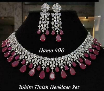 Gold Fashion Jewelry Choker Necklace Indian Bollywood Style CZ AD Wedding Set