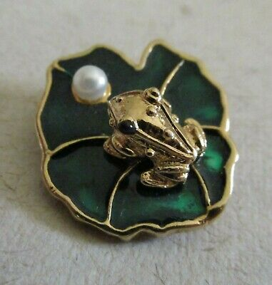 Cute JJI Lucky Frog Pin Brooch Enamel Lily Pad w/ Real Round Pearl ca 5mm Signed