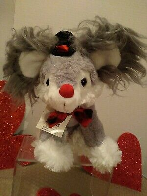 💐Mother's Day Plush Chinese Crested Dog w/ Top Hat  BowTie by DanDee Grey/White