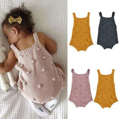 Luyuedexye Newborn Baby Girls Boys Knitted Jumpsuit Sleeveless Romper Solid Color Bodysuit Summer Outfit Clothes