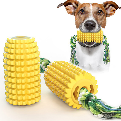 Dog Chew Toys Corn Molar Stick with Rope Indestructible Teething Cleaning Play