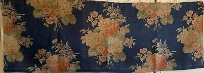 Beautiful 1930's French Printed Linen Floral Fabric (3418)