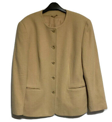 Pure New Wool Womens Tailored Fine Weave Modern UK 12 Collarless Chocolate Brown Vintage 80\u2019s M/&S ST MICHAEL Long Jacket Size 14