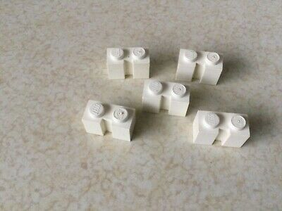 LEGO PART 4216 WHITE BRICK MODIFIED 1 X 2 WITH GROOVE X 5 PIECES